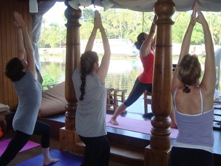 Yoga on boat